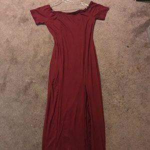 Off the shoulder maroon fashion nova dress